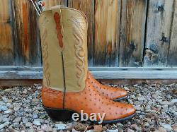 Black Jack Peanut Brittle Genuine Full Quill Autruche Western Cowboy Boots 12d