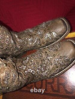 Bottes Corral Femmes Orix Brown Glitter Inlay Ams Studd Square Toe Size 8.5