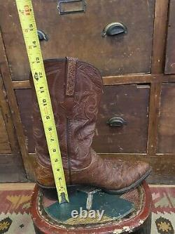 Bottes Cowboy En Cuir Chocolat Vintage Lucchese Pirarucu 10 D