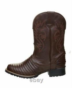 Bottes Cowboy Rodeo Hommes En Cuir Véritable Ouest Carrés Bottes Toe De Luxe