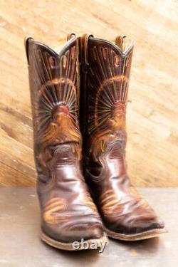 Bottes De Cowboy, Vintage Femmes En Cuir Brun Brillant, Avec Paon Brodé