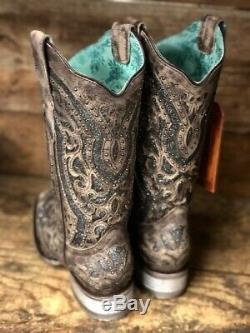 Brown Corral Women & Argent Cloutés Inlay Place Toe Western Bottes E1512