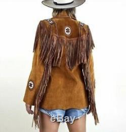 Brown Des Femmes En Cuir Suédé Usure Western Veste Frangées & Perles Vestes Main