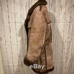 Brown Stratojac Shearling Sheepskin Marlboro Man Rancher Western Manteau Taille 44