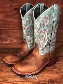 Brown & Turquoise Place Laredo Femmes Toe Western Boots 5607