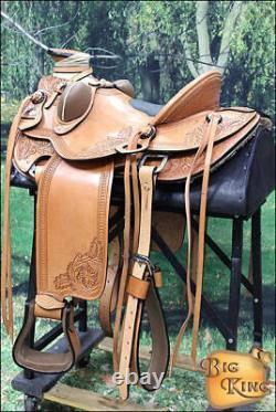 C-3-16 16 Selle Western Horse Cuir Wade Ranch Roping Tan Hilason