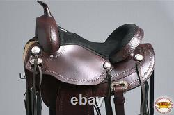 C-z-16 15 En 16 En 17 Dans Western Horse Saddle Leather Treeless Trail Hilason