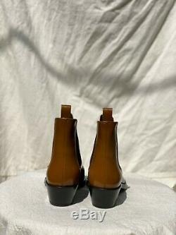 Calvin Klein 235w39nyc Chris Tan Cuir Logo Carré Cap Toe Western Boot 39/9