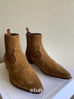 Céline Tan Suede Western Boots Hedi Slimane Saint Laurent Sz 43,5 Us 10,5