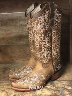 Cercle G Par Tan Scroll Brodé Snip Toe Western Bottes L5418 De Corral Femmes