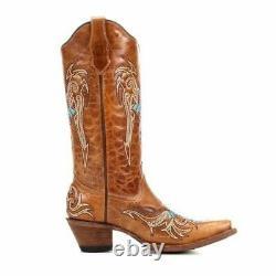 Circle G Par Corral Ladies Cowboy Western Boots Cognac/turquoise Cross L5104