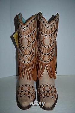 Clouté Fringe Couches Western 9 M Cowgirl Boot Snip Toe C2988 Corral De Femmes