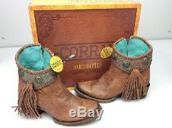 Corral A3196 Cowboy Bottines Bootie Western Cognac / Turquoise Taille 9