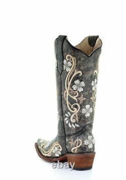 Corral Circle G Womens Western Cowboy Boots Cuir Floral Stitch Snip Toe Black