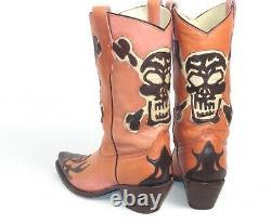 Corral Cowboy Boots Femmes 8b Inlay Cutout Skull Pink Brown Bon État