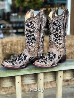 Corral Femmes Bone & Black Sequin Floral Inlay Place Toe Western Bottes A3648