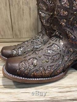 Corral Femmes Orix Brown Glittered Inlay & Goujons Place Toe Bottes C3275