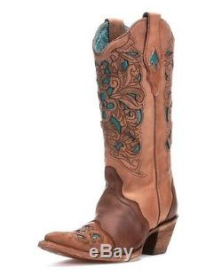 Corral Femmes Western Boot Brown & Turquoise Laser Outil C1620
