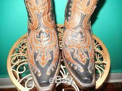 Corral G1072 Noir Cognac Brown Laser Goujons Grand Inlay Western Cowboy Bottes 9
