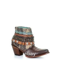 Corral Ladies Brown Clouté Et Bracelet Tissé Bottines E1387