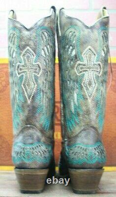 Corral Ladies Brown Wings Et Cross Inlay Leather Cowgirl Boots A3402 Taille 9m