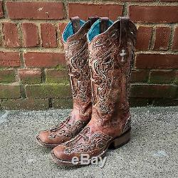 Corral Ladies Cognac / Os Inlay Cross & Goujons Bout Carré Boot C2856 Vente