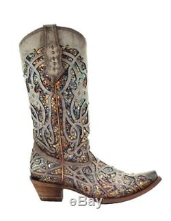Corral Ladies Glitter Inlay & Taupe Goujons Snip Bottes Toe C3409