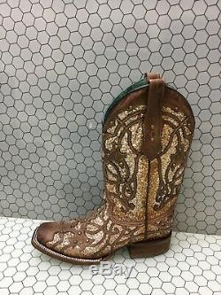 Corral Marsha Cuir Goujons / Glitter Inlay Bout Carré Cowgirl Bottes Femmes 8,5 M