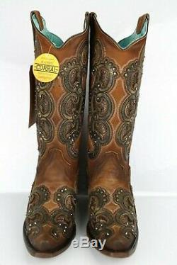 Corral Miel Femmes Overlay Et Broderie Western Boots Taille 8m # E1508