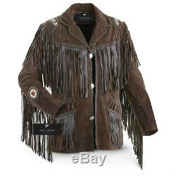 Cowboy Traditionnel Masculin Occidental En Cuir Manteau De La Veste À Franges D'os Et Perles