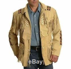 Cowboy Traditionnel Masculin Occidental Manteau De La Veste En Cuir À Franges D'os Et Perles