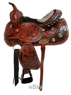 Cowboy Western Saddle 15 16 Pleasure Horse Racing Barrel Trail Paquet En Cuir