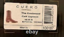 Cuero Eastwood Calf Espresso Mens Western Cowboy Leather Boots Taille 10.5 D Nouveau