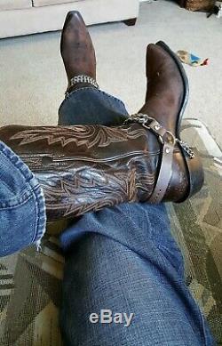 Cuir Impressionnant Hommes Brown Lucchese Cowboy Boots Avec Des Chaînes De Démarrage 11 Boot Man
