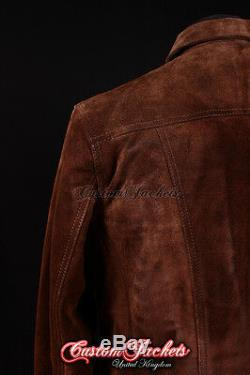 Cuir Suede Trucker Homme Veste Western Classic Denim Style Veste Shirt 1280