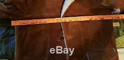 Cuir Vintage Suede Sherpa Western Rancher Manteau Veste Marlboro Vêtements Pour Hommes 46