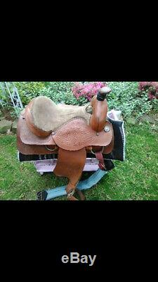 Custom Made 16 Cuir Selle Western Moulinette Selle Piste
