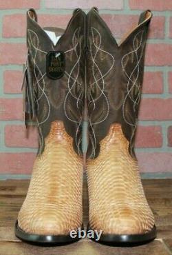 Dan Post Dp3039 13 Manning Miel Véritable Python R Toe Boot Exotique Taille 12 Ew