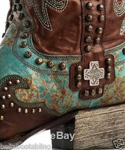 Ddl001-1 Double D Ranch Turquoise Brown Munitions Bottes Western Riva