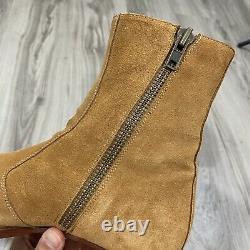 De The First Luca 40mm Side Zip Boots Camel Suede Size Eu 43 Us 10