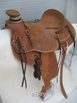Designer Brown Wade Western Ranch Cuir Selle Roping, Disponible En 4 Tailles