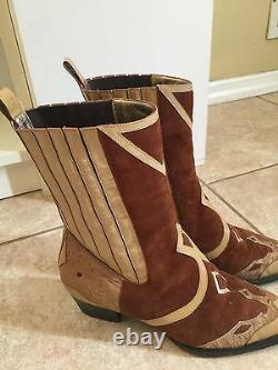 Dolce Gabbana Designer Pointy Cowboy Cowgirl Suede Chaussures De Chaussures De Coiffure En Cuir 38/ 7