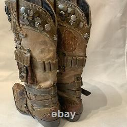 Double D Ranch Frontier Trapper Lane Western Leather Stuffed Cowgirl Boots 9,5