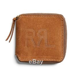 Double Ralph Lauren Rrl Hommes Roughout Cuir Zip Brown Suede USA Ranch Wallet