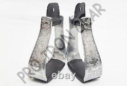 En Aluminium Silver Western Horse Show Saddle Stirrups Avec Cuir Brun