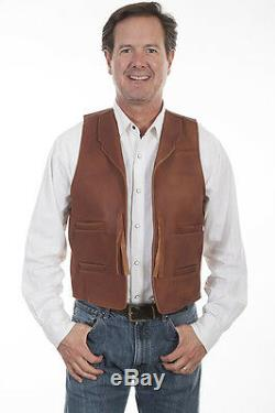 En Cuir Brun Western John Wayne Duke Cowboy Vest Scully Wahmaker Taille S-4xl Nouveau