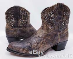 Euc 598 $ Sz 10 Frye 77861 Deborah Clouté Gris Occidental Cowboy Cheville Bottillons Boot