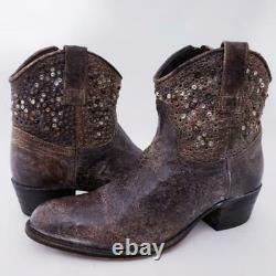 Excellent $598 Sz 8.5 Frye 77861 Deborah Studded Grey Western Ankle Booties Boot