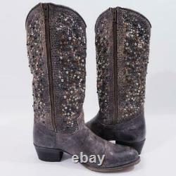Excellent $698 Sz 9 Frye 77860 Deborah Studded Tall Anthracite Western Boots