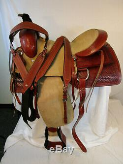 Fabriqué À La Main En Cuir Roping Western Saddle Ranch Roper Selle 15 16 17 D'occasion Tack